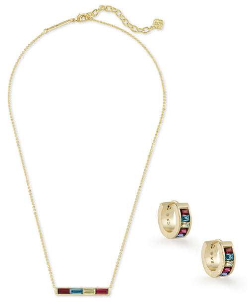 KENDRA SCOTT GIFT SET JACK PENDANT & HUGGIE EARRINGS-GOLD JEWEL TONE MIX