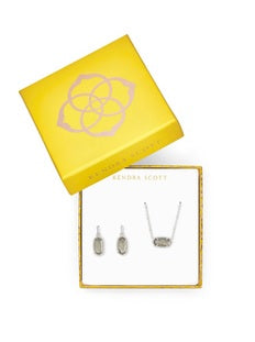 KENDRA SCOTT GIFT SET SATELLITE ELISA PENDANT & LEE EARRINGS GIFT SET-RHODIUM GRAY ILLUSION