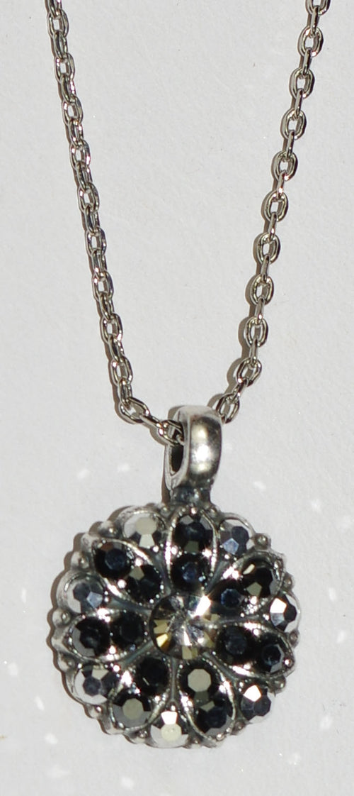 "MARIANA ANGEL PENDANT BLACK DIAMOND: silver black stones in silver setting, 18"" adjustable chain"