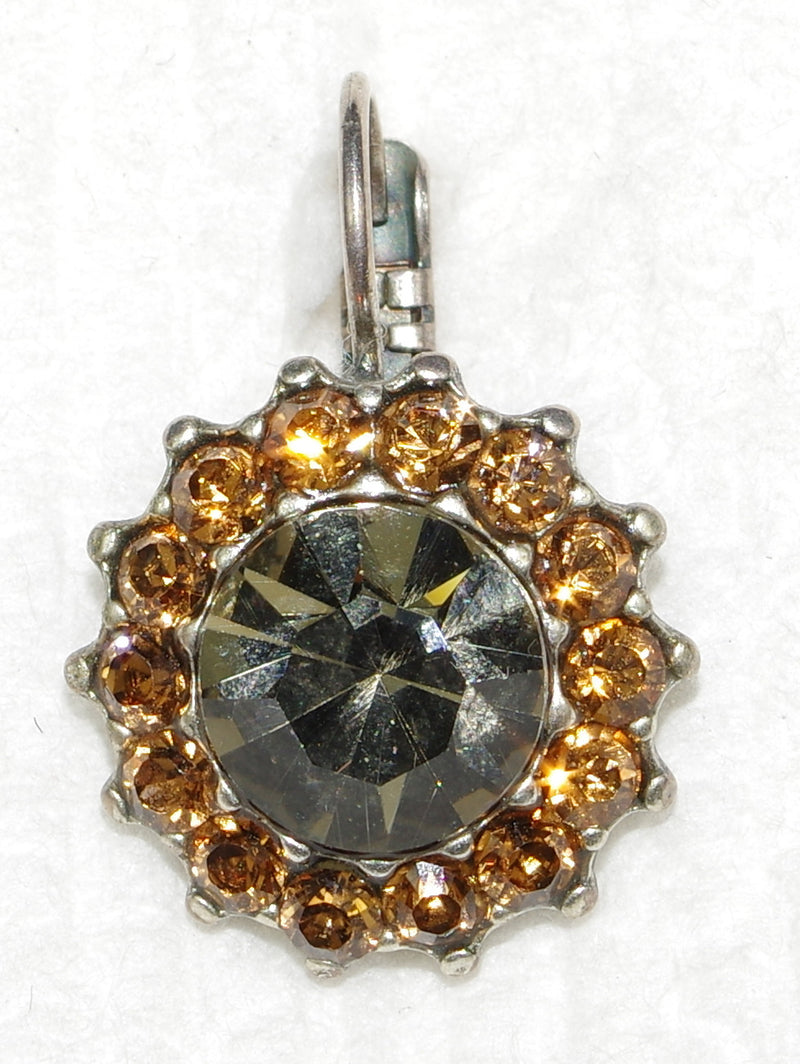 "MARIANA EARRINGS VINTAGE LACE: amber, topaz stones in 5/8"" silver setting, lever back"
