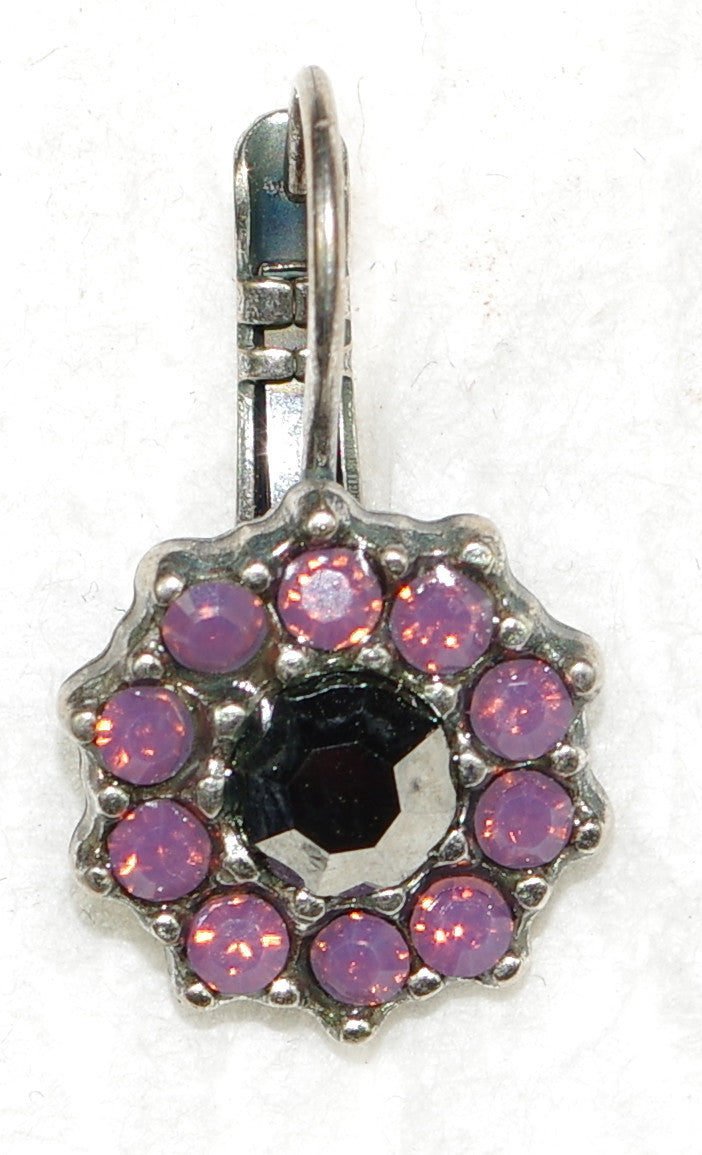 "MARIANA EARRINGS SILVER MOON: pink, lavender stones in 1/2"" silver setting, lever back"