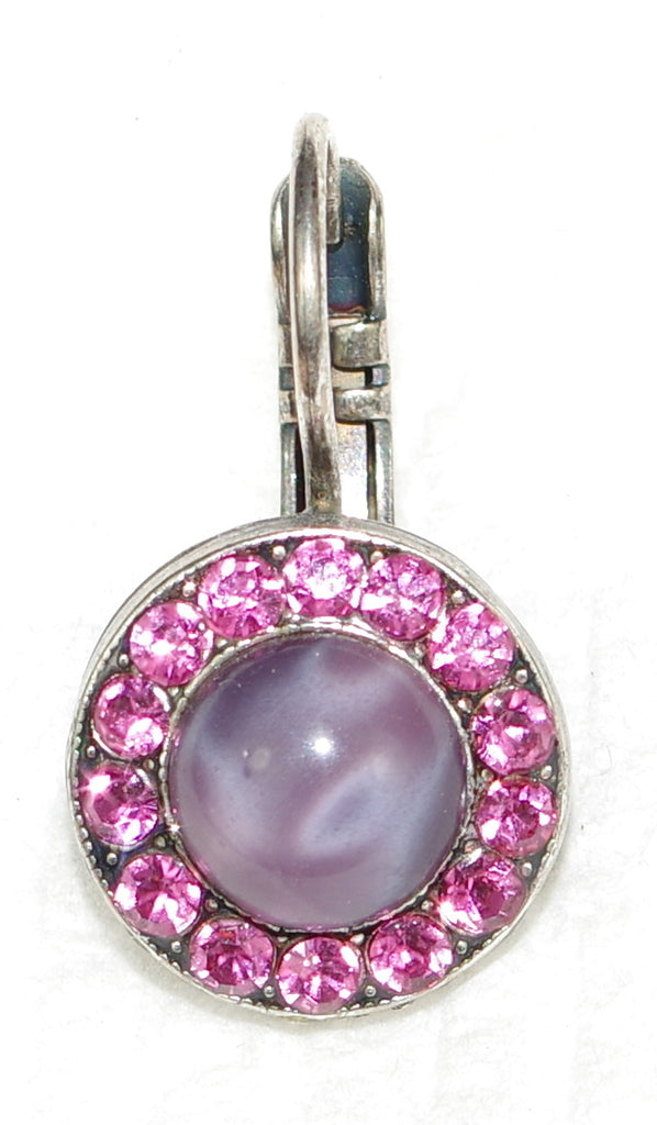 "MARIANA EARRINGS SWEET SUMMER: pink, lavender stones in 1/2"" silver setting, lever back"