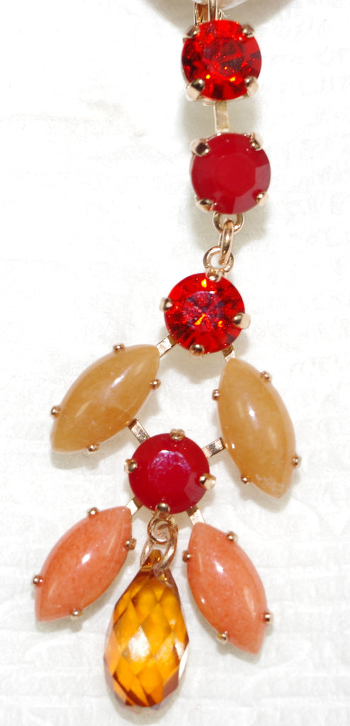 "MARIANA EARRINGS FLAME: red, orange, beige stones in 2.75""  yellow gold setting, lever back"