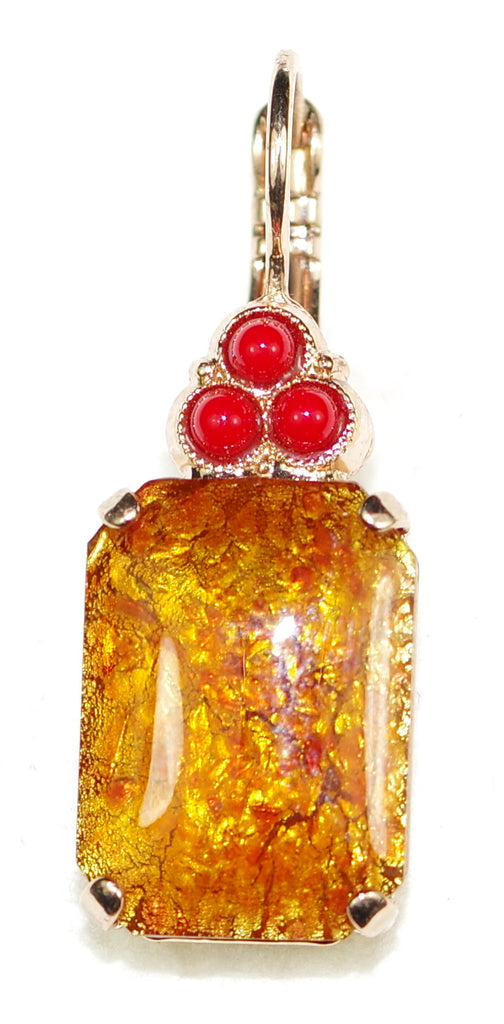 "MARIANA EARRINGS FLAME: amber, red stones in 1.25"" yellow gold setting, lever back"