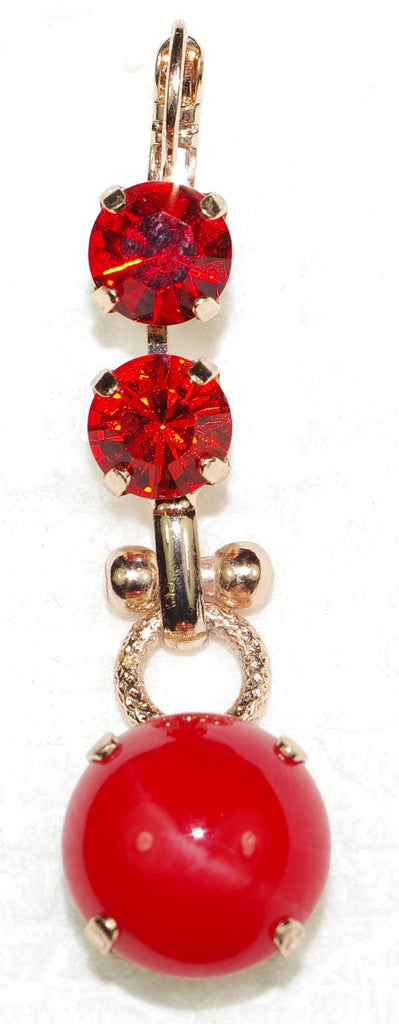 "MARIANA EARRINGS FLAME: red, orange stones in 1.75"" rose gold setting, lever back"