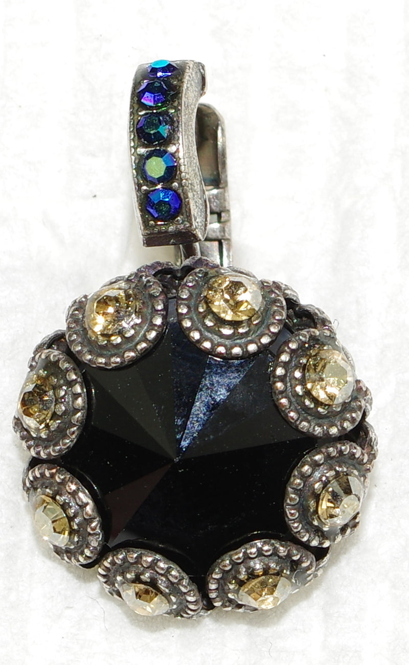 "MARIANA EARRINGS MIDNIGHT IN PARIS XOXO: black, amber, blue a/b stones in 1/2"" silver setting, lever back"