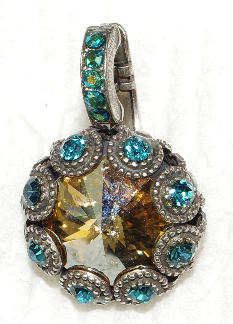 "MARIANA EARRINGS HARMONY XOXO: amber, teal, a/b stones in 1/2"" silver setting, lever back"
