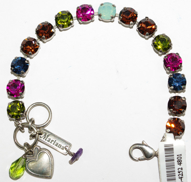 MARIANA BRACELET CROWN JEWELS BETTE: fucshia, green, pacific opal, blue, brown stones in silver setting