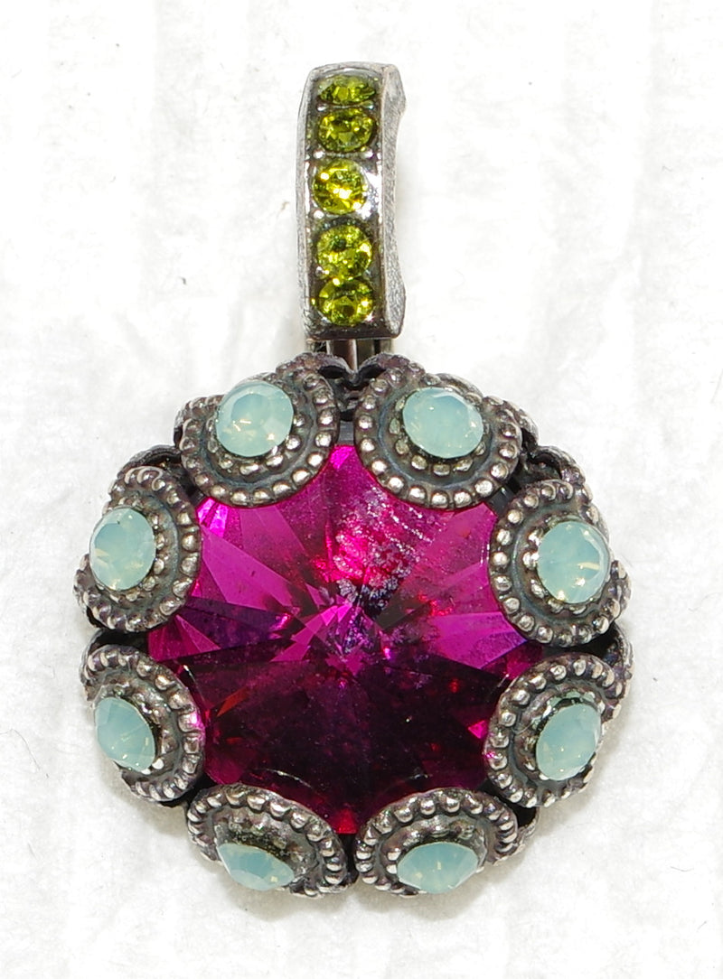 "MARIANA EARRINGS CROWN JEWELS XOXO: fucshia, green, pacific opal stones in 1/2"" silver setting, lever back"