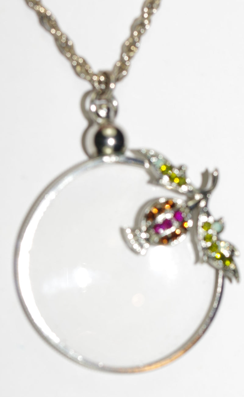 "MARIANA PENDANT FLOWER MAGNIFYING GLASS:  green, pink, topaz stones in 1.25"" pendant, silver setting, 32"" adjustable double chain"