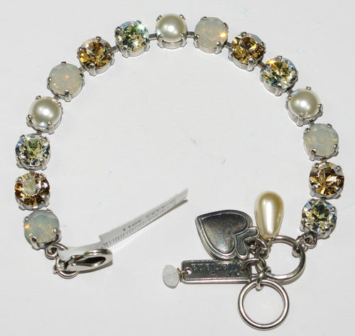 MARIANA BRACELET BETTE CHAMPAGNE & CAVIAR: clear, amber, pearl, white stones in silver rhodium setting