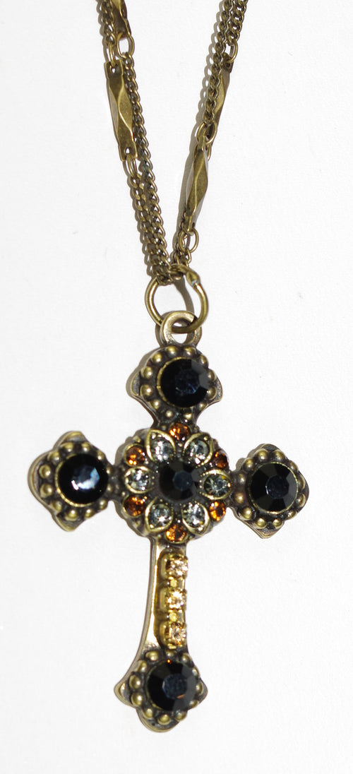 "MARIANA CROSS PENDANT ELEGANCE: amber, black, grey stones in antique gold setting, 18"" double chain"