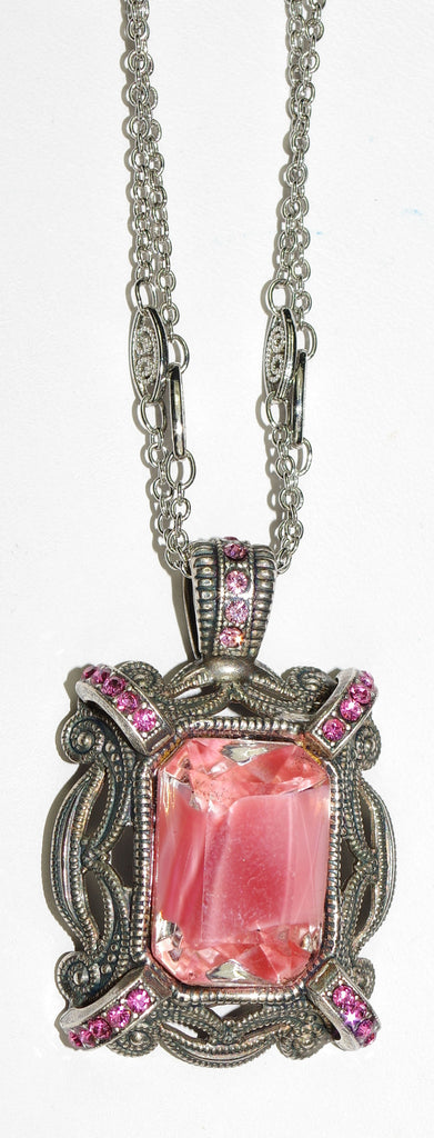 "MARIANA PENDANT SMASHING PINK: pink stones in 1.5"" charm, silver setting, 20"" adjustable chain"