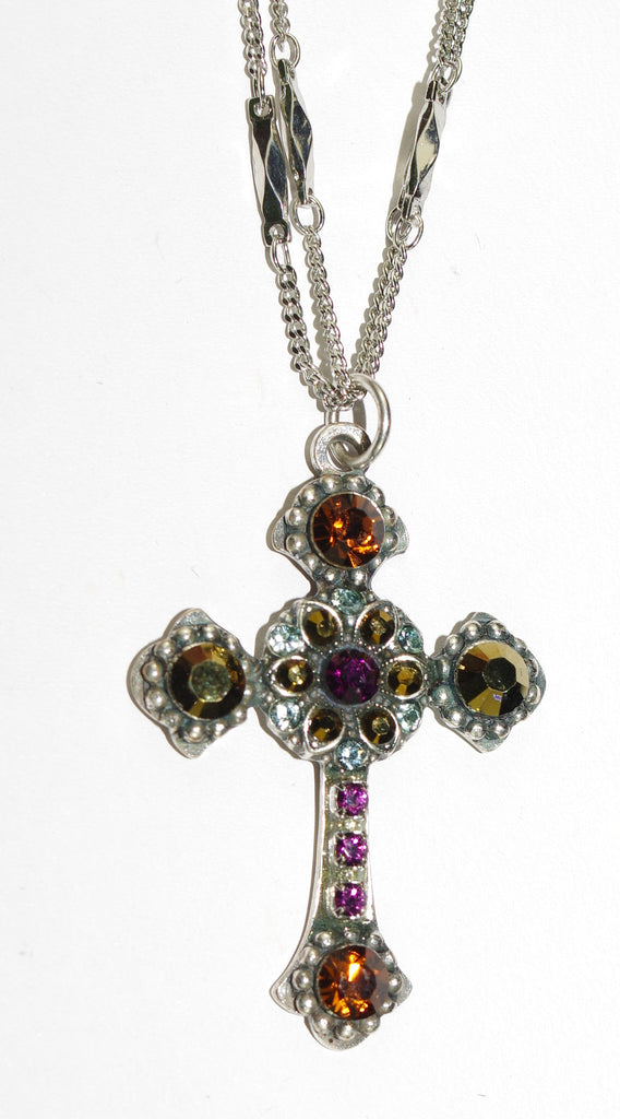 "MARIANA CROSS PENDANT: purple, gold, brown stones in silver setting, 18"" double chain"