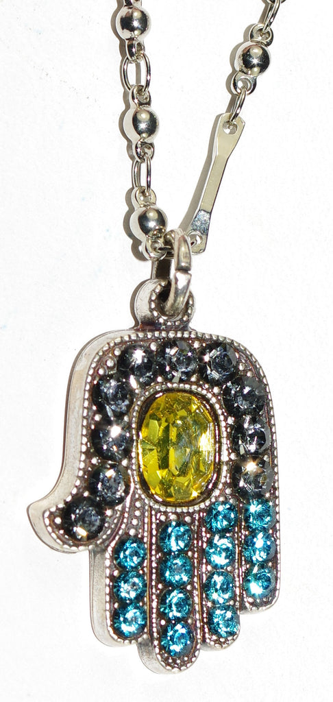 "MARIANA PENDANT BLUE: blue, yellow stones in silver setting, Hamsa pendant = 1"", 18"" adjustable chain"