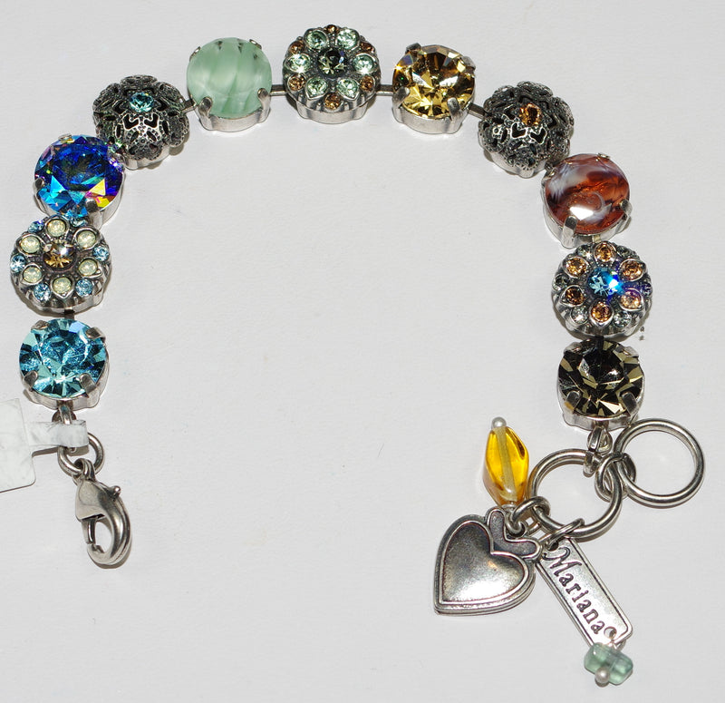 MARIANA BRACELET FORGET ME NOT:  amber, green, blue, brown stones in silver setting