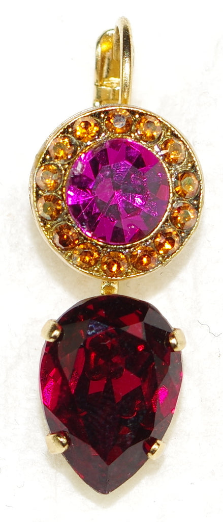 "MARIANA EARRINGS DAPHNE: red, fucshia, brown stones in 1"" yellow gold setting, lever back"