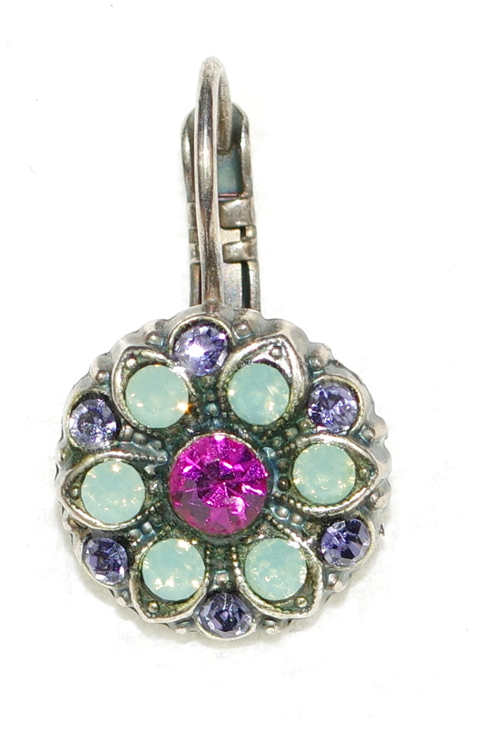 "MARIANA EARRINGS PACIFIC OPAL: fucshia, lavender, pacific opal stones in 1/2"" silver setting, lever back"