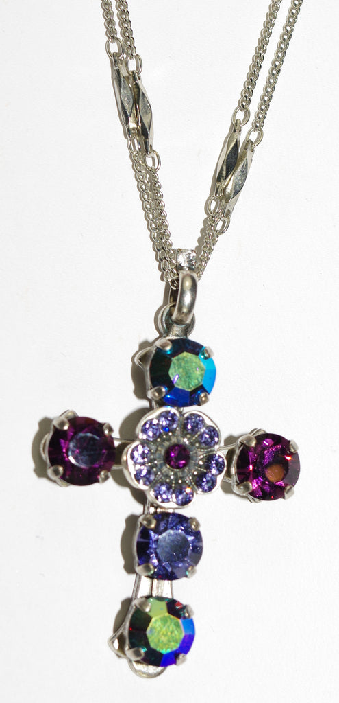 "MARIANA CROSS PENDANT FORGET ME NOT: blue, purple stones in silver setting, 18"" double chain"