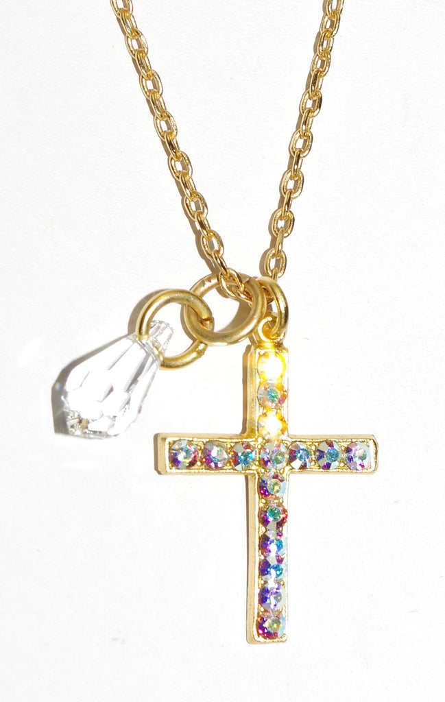 "MARIANA CROSS PENDANT ON A CLEAR DAY: clear a/b stones in 1"" cross yellow gold setting, 18"" adjustable chain"