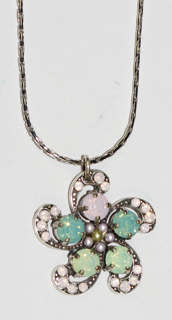 "MARIANA PENDANT MORNING GLORY: pink, pacific opal, pearl stones in silver setting, 20"" adjustable chain"