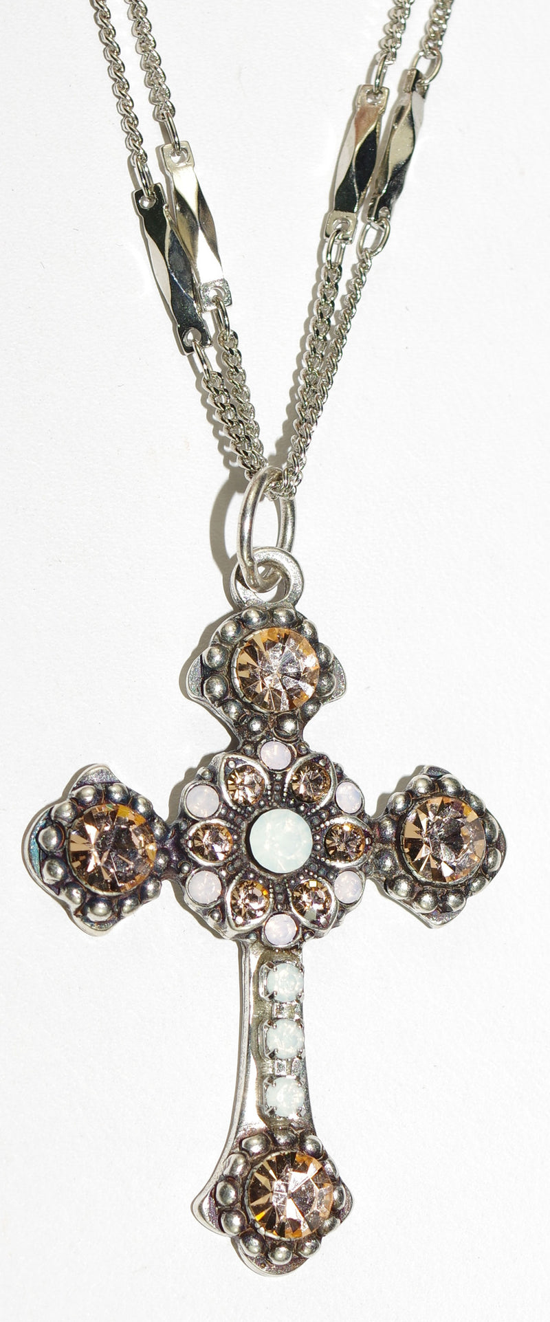"MARIANA CROSS PENDANT TIARA DAY: amber, white stones in silver setting, 18"" double chain"