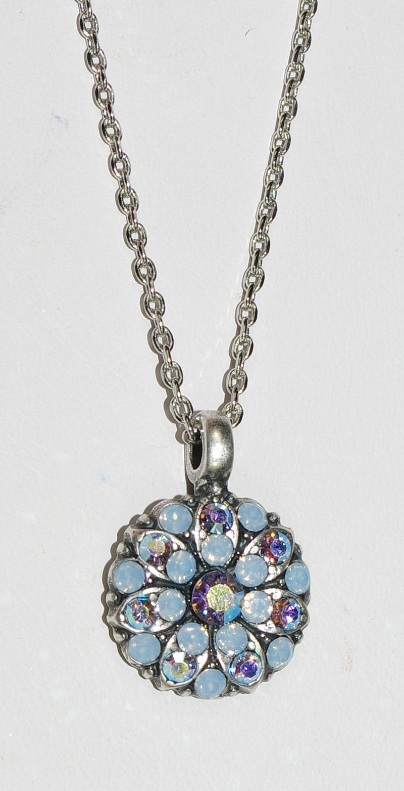 "MARIANA ANGEL PENDANT PERIWINKLE: blue, a/b stones in silver setting, 18"" adjustable chain"