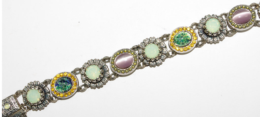 MARIANA BRACELET LILAC: pink, pacific opal, green, blue, amber stones in silver setting, safety chain
