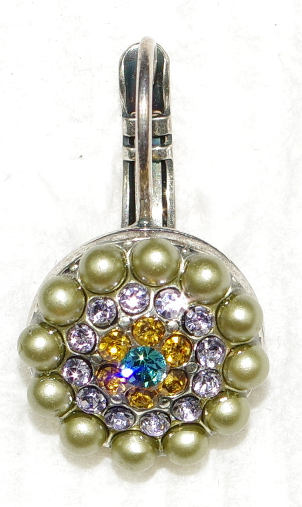 "MARIANA EARRINGS LILAC: green pearl, pink, amber, teal stones in 1/2"" silver setting, lever back"