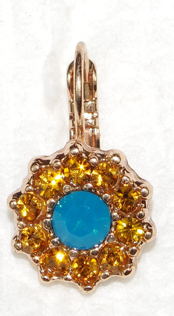 "MARIANA EARRINGS JASMINE: teal, amber stones in 1/2"" rose gold setting, lever back"