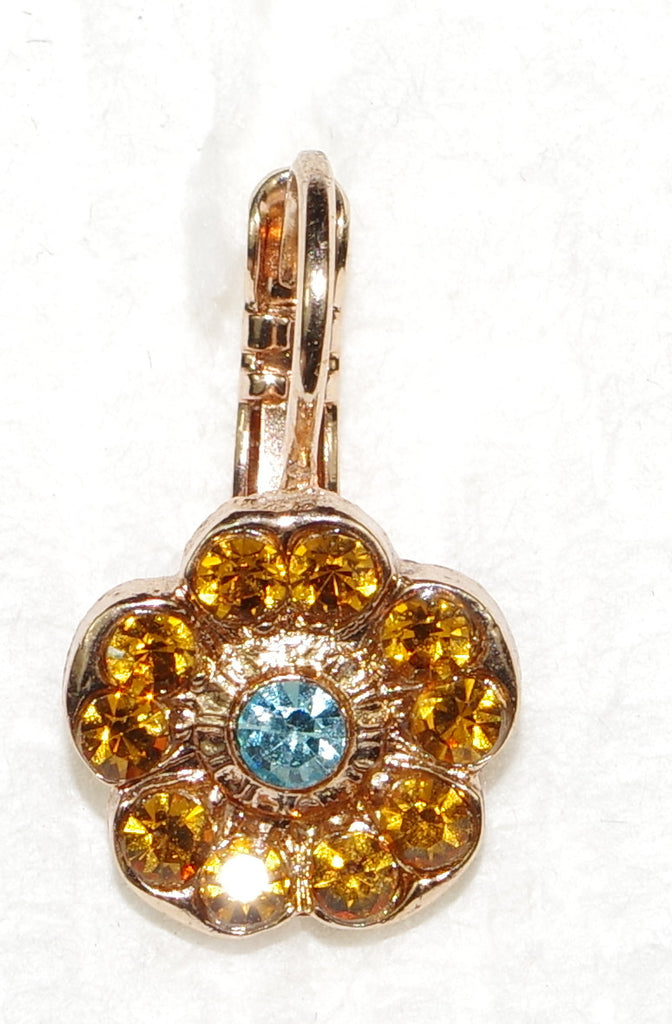 "MARIANA EARRINGS JASMINE: amber, blue stones in 1/2"" rose gold setting, lever back"