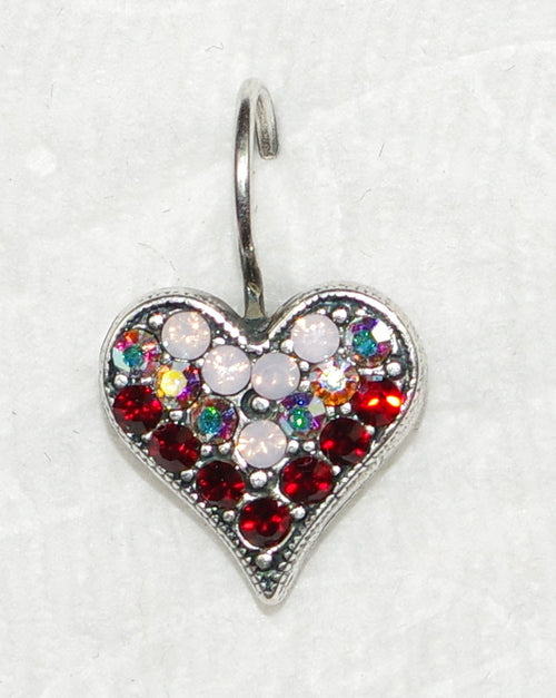"MARIANA EARRINGS TRUE ROMANCE: red, pink, a/b stones in 1/2"" silver setting, lever back"