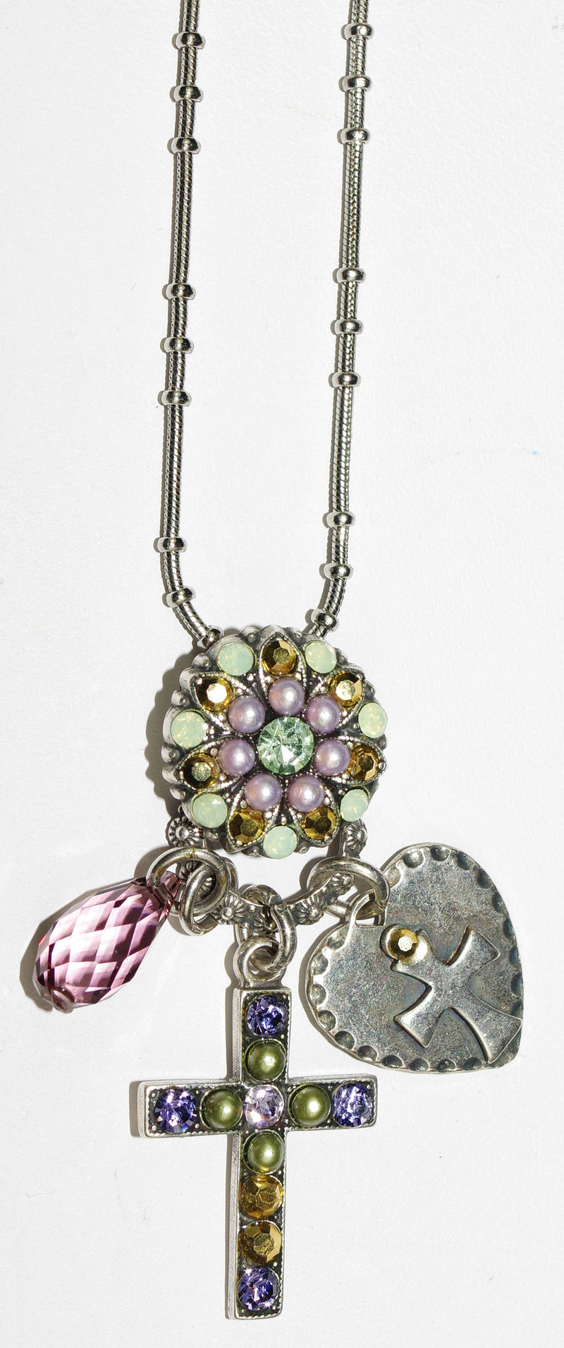 "MARIANA CROSS PENDANT IRIS: green, lavender, gold, pearl stones in 2"" silver setting, 24"" adjustable chain"