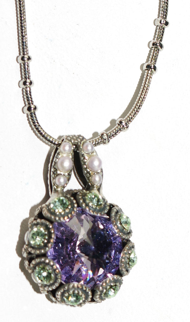 "MARIANA PENDANT IRIS: lavender, green, pearl stones in silver setting, 18"" adjustable chain"