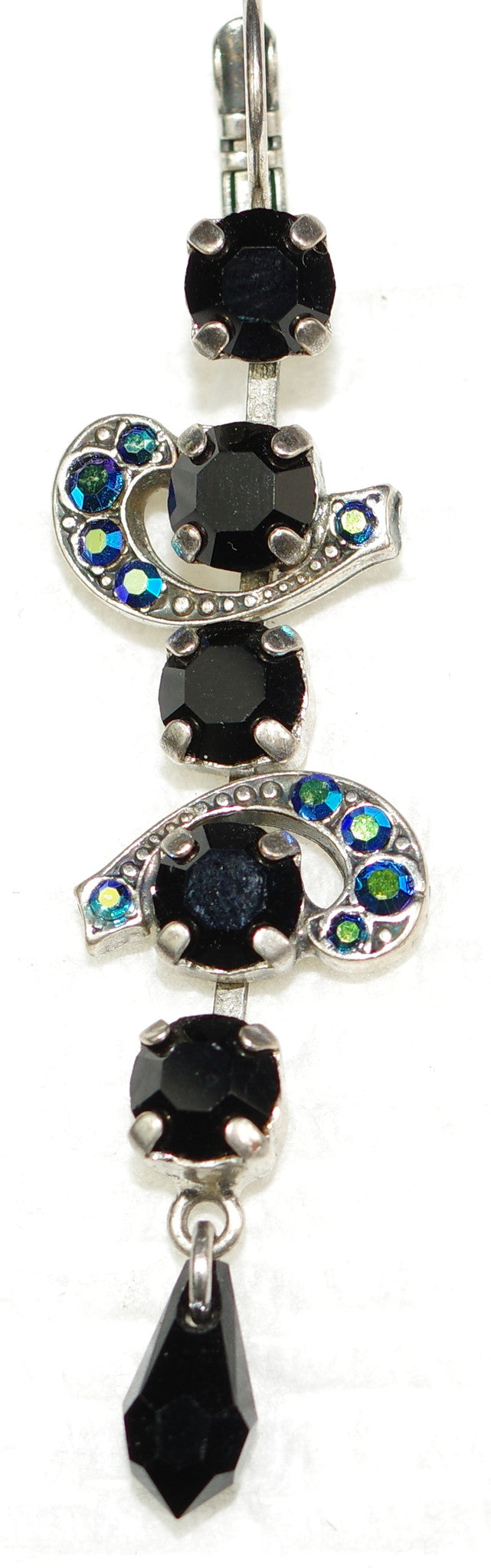 "MARIANA EARRINGS GREASED LIGHTNING: black, blue stones in 2.5"" silver setting, lever back"