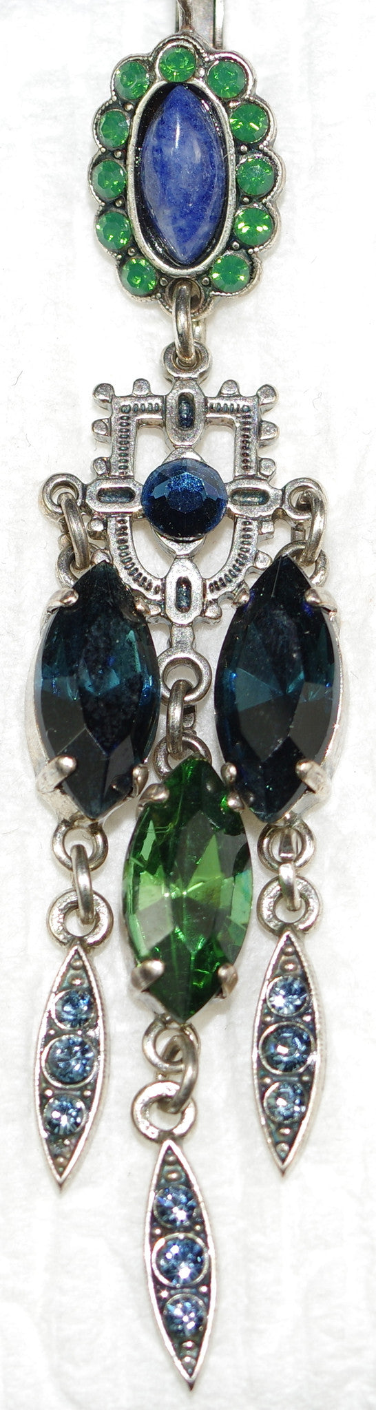 "MARIANA EARRINGS EMERALD CITY: blue, green stones in 3"" silver setting, lever back"