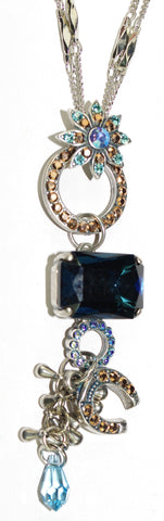 "MARIANA PENDANT BLUE SUEDE SHOES:  blue, gold stones in 3.25"" pendant, silver setting, 19"" adjustable double chain"