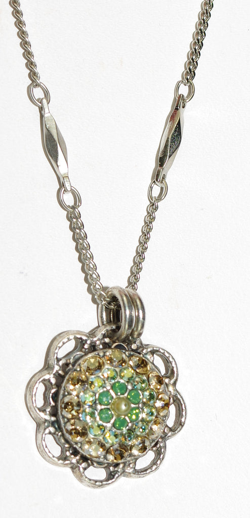 "MARIANA PENDANT GOLDFINGER: amber, green, yellow stones in 5/8"" pendant, silver setting, 20"" adjustable chain"