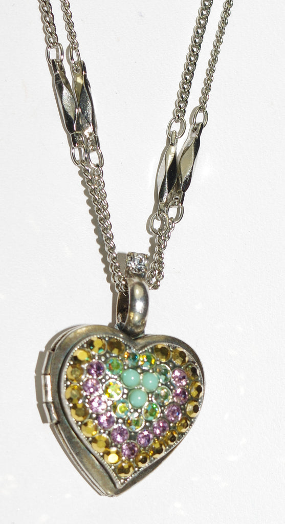 "MARIANA PENDANT LOCKET GOLDFINGER: blue, gold, pink stones in 3/4"" locket in silver setting, 19"" adjustable chain"