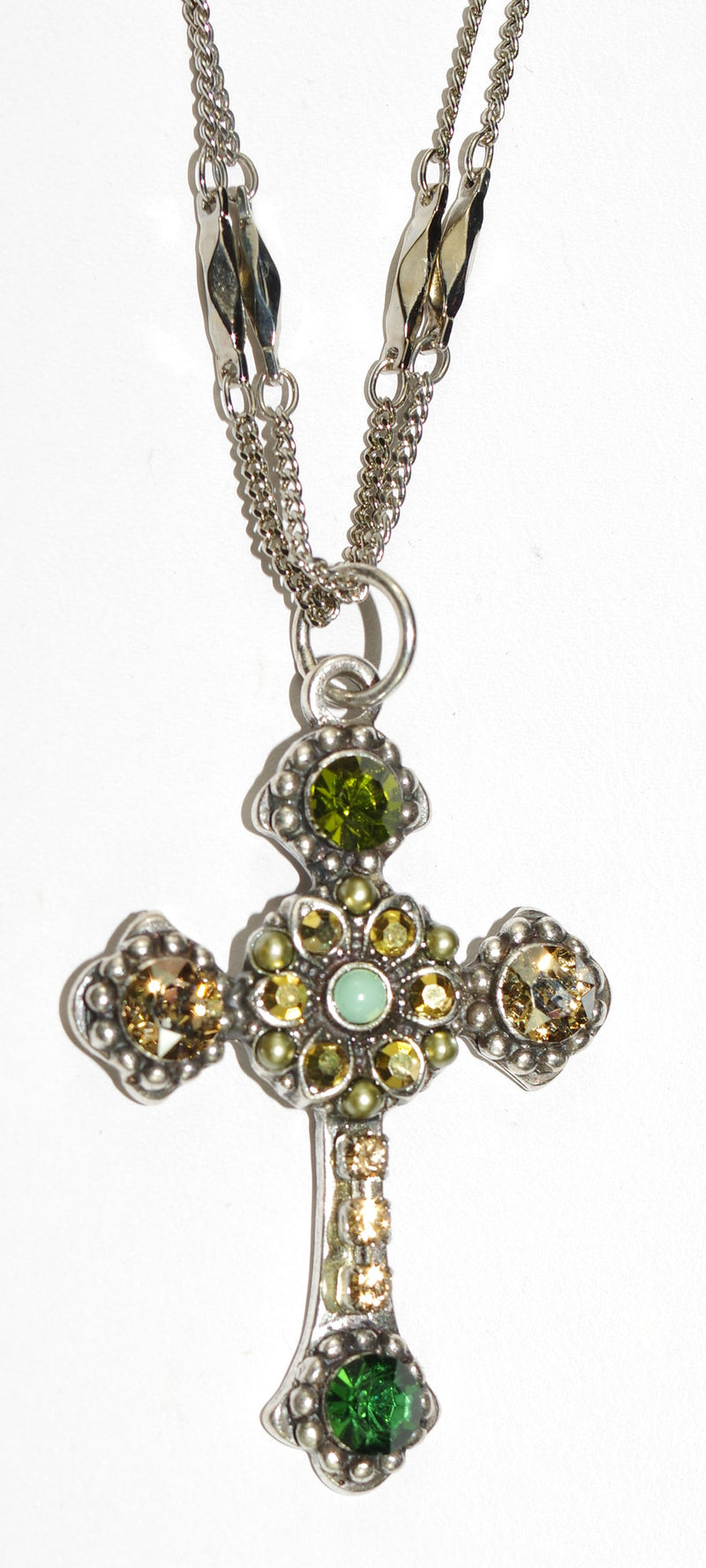 "MARIANA CROSS PENDANT GOLDFINGER: green, amber stones in silver setting, 18"" double chain"