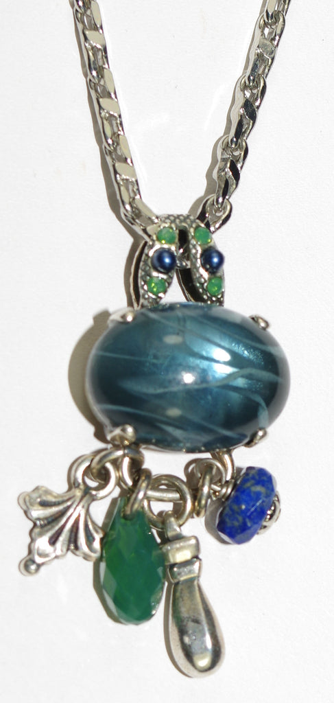 "MARIANA PENDANT EMERALD CITY: blue, green stones in silver setting, 1.5"" pendant, 20"" adjustable chain"