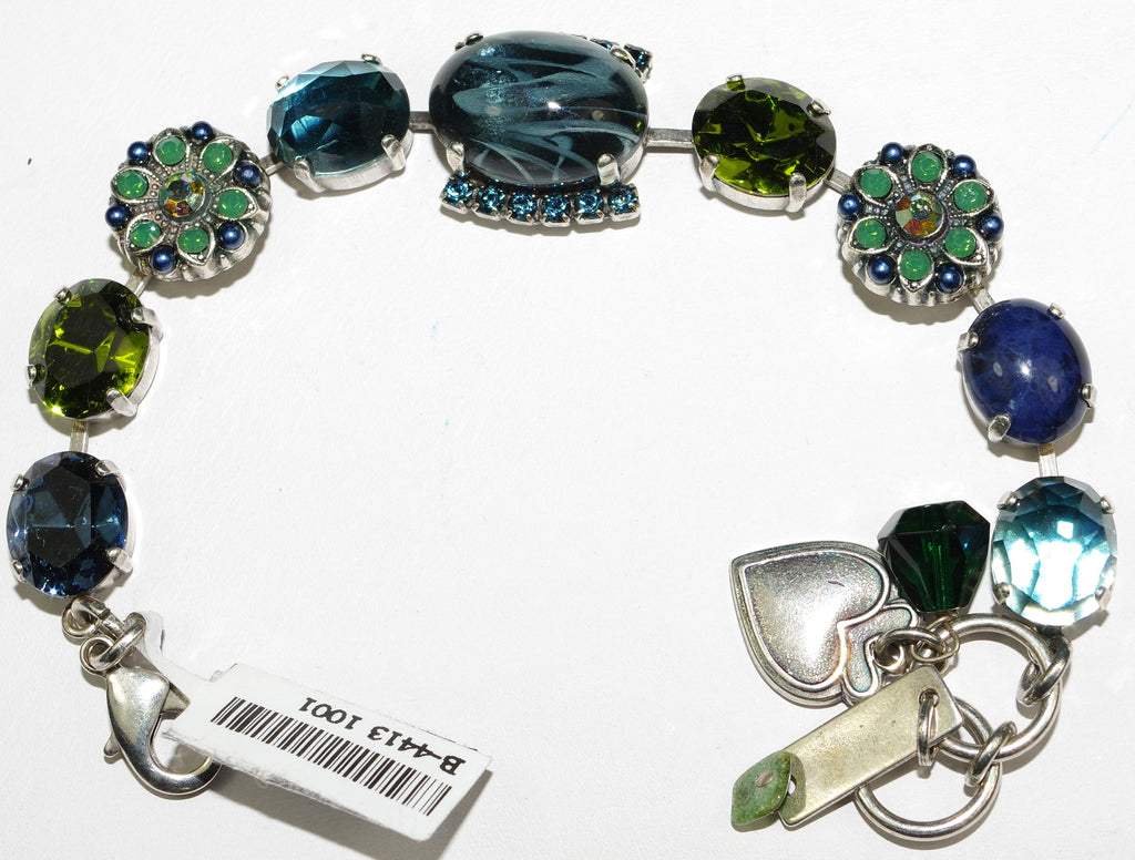 MARIANA BRACELET EMERALD CITY: green, blue, navy stones in silver setting