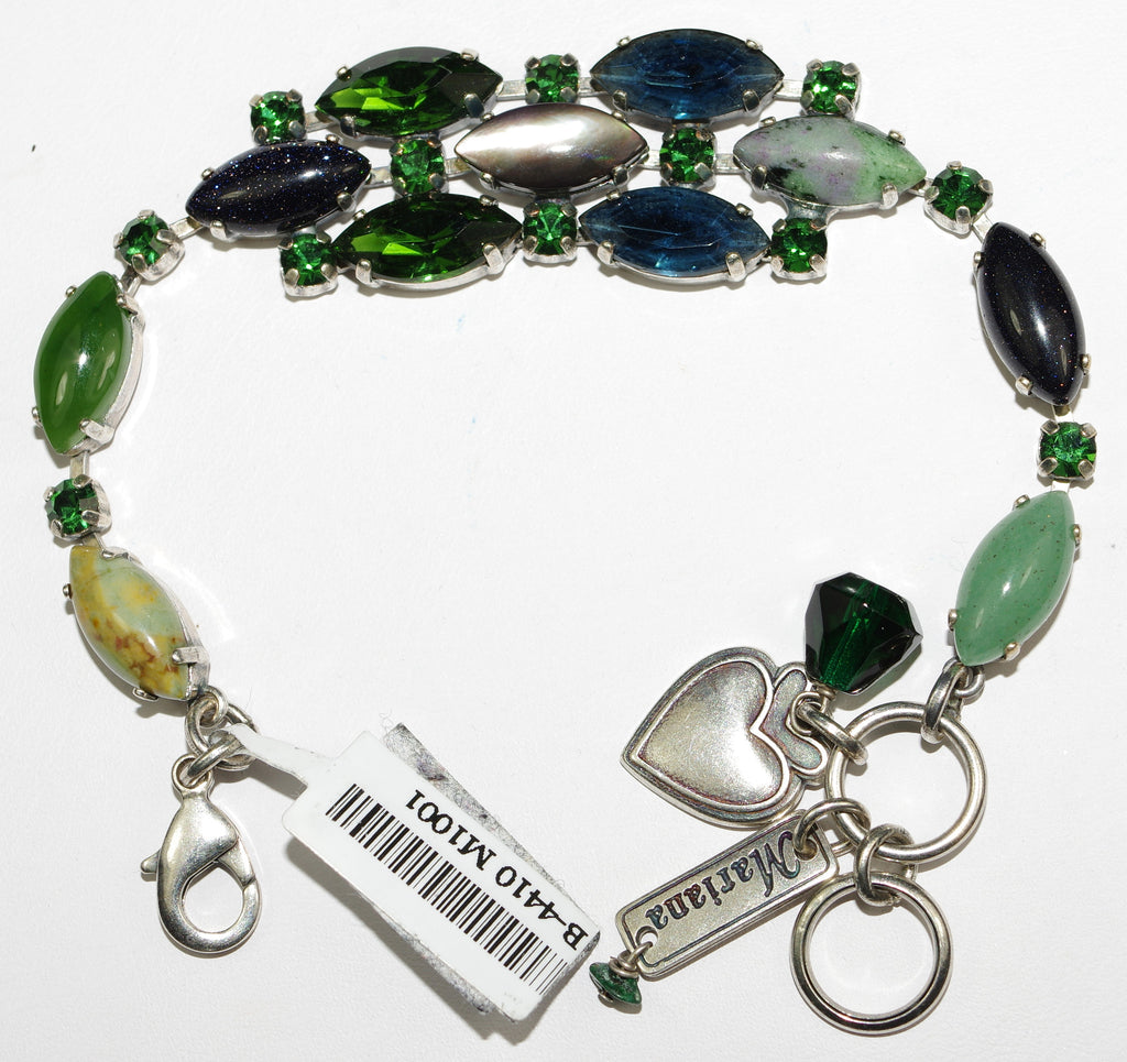 MARIANA BRACELET EMERALD CITY: blue, green, pacific opal stones in silver setting