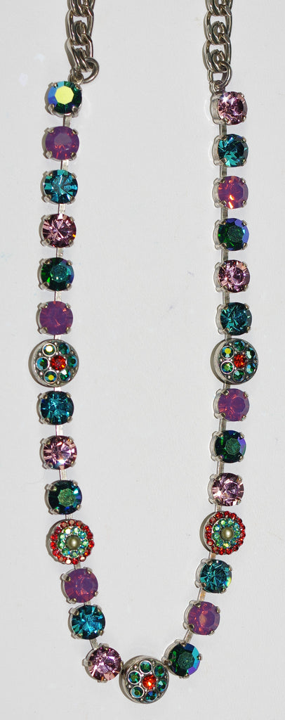 "MARIANA NECKLACE IMAGINE: pink, blue, orange stones in silver setting, 18"" adjustable chain"