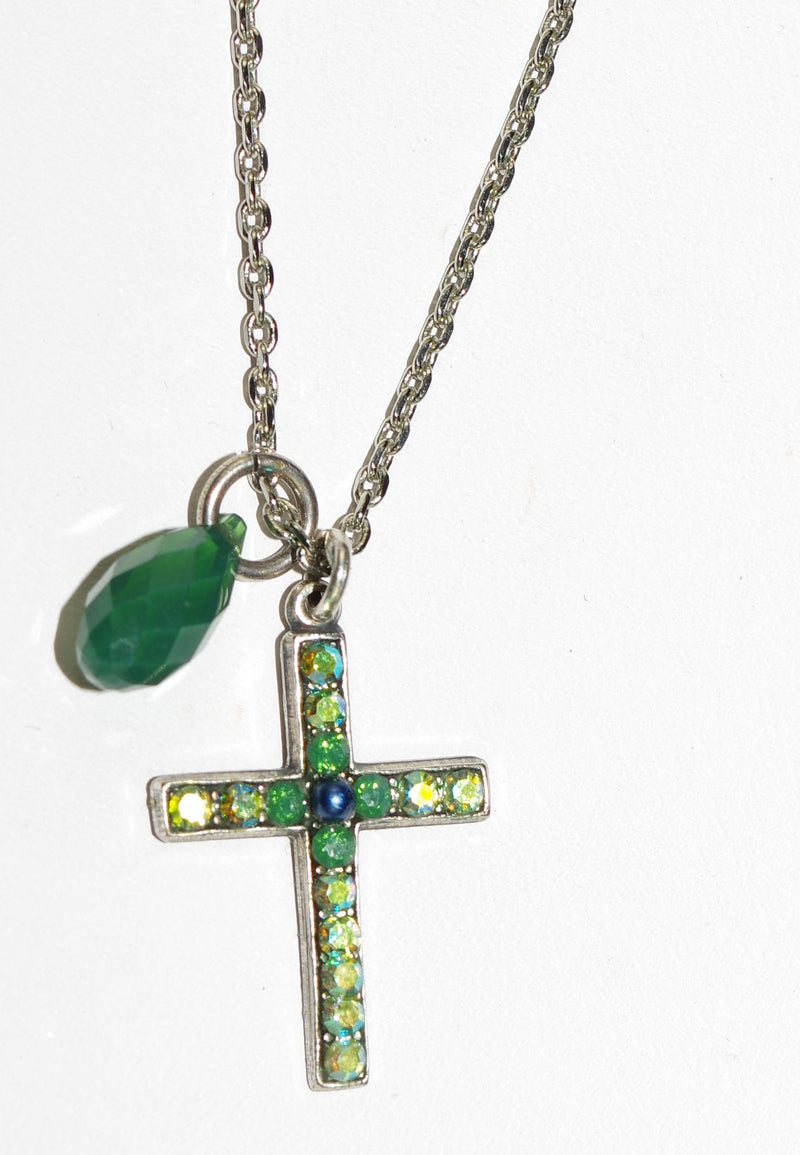 "MARIANA CROSS PENDANT EMERALD CITY:  green, A/B stones in 1"" silver setting, 18"" adjustable chain"