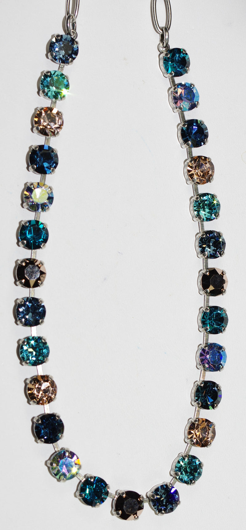 "MARIANA NECKLACE BETTE BLUE SUEDE SHOES: blue, gold, amber, 1/4"" stones in silver setting, 17"" adjustable chain"