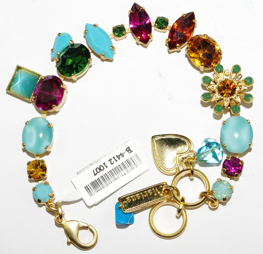 MARIANA BRACELET HAPPY DAYS: fucshia, turq, green, amber, blue stones in yellow gold setting