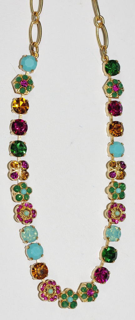 "MARIANA NECKLACE HAPPY DAYS: blue, pink, amber, green stones in yellow gold setting, 16"" adjustable chain"
