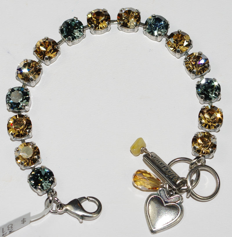"MARIANA BRACELET MOON DROPS BETTE: amber, blue 3/8"" stones in silver setting"