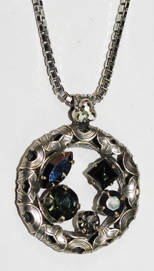 "MARIANA PENDANT BLACK DIAMOND: black, silver stones in silver setting, 2"" pendant, 28"" adjustable chain"